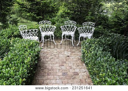Rock Tiles Path  End  Garden Chairs Stone
