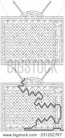 Vintage Television Maze For Kids With A Solution In Black And White