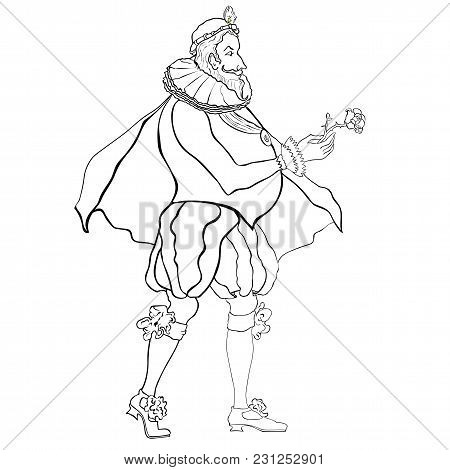 Stylized Outline Portrait Of An Aristocrat Of The Baroque Era On A White Background