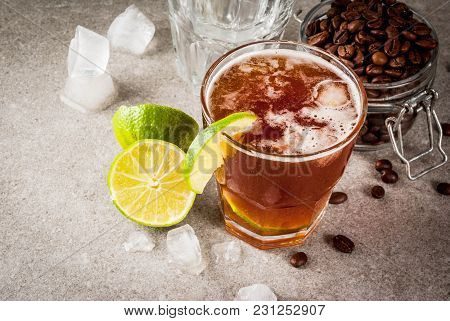Espresso Tonic, Refreshment Summer Drink With Tonic Water, Lime And Coffee, Grey Stone Table, Copy S
