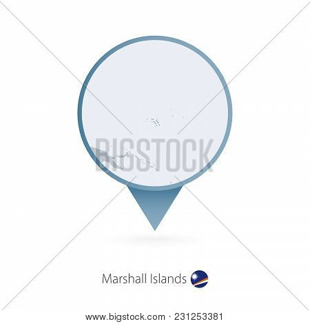 Map Pin With Detailed Map Of Marshall Islands And Neighboring Countries.