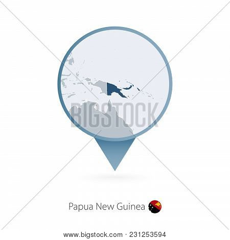 Map Pin With Detailed Map Of Papua New Guinea And Neighboring Countries.