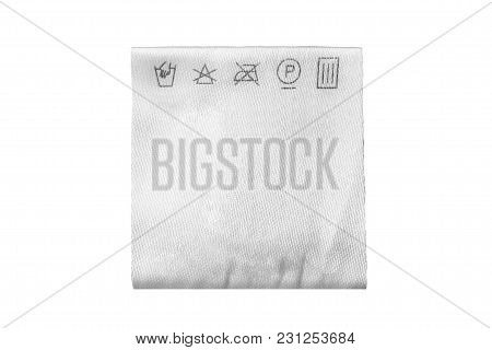 Textile Care Clothes Label Isolated Over White