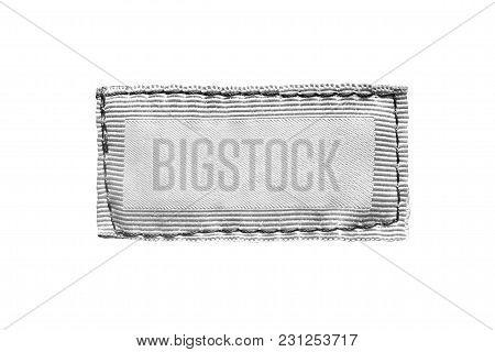 Blank White Textile Clothes Label On White Background