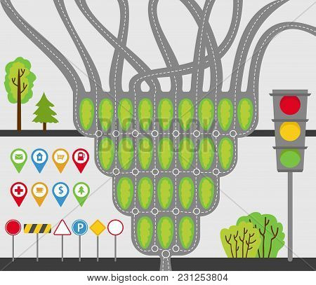 Transport Set, Road Junctions, Roads, Road Signs, Signs, Traffic Lights, Trees And Bushes. Vector Il