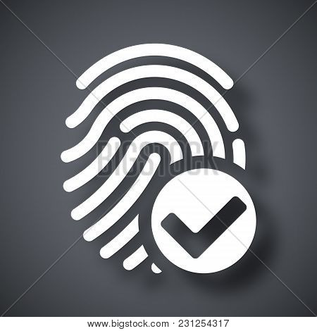Vector Fingerprint Accepted Icon On A Dark Gray Background