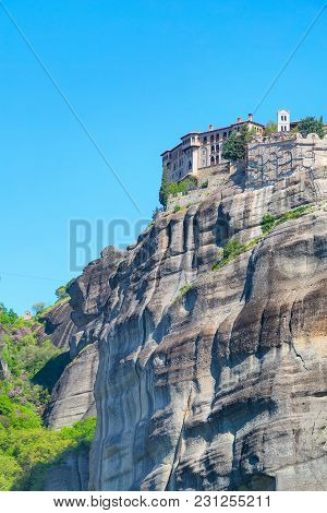 Meteora Monastery On The High Cliff Rock And Mountains At Spring Time, Greece