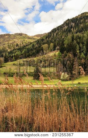 Mountains Landscape With The Lake And The Reeds In The Foreground. In The Foreground Are Dry Reeds T