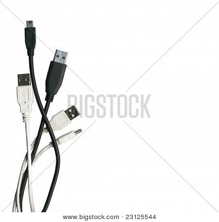 Various usb cable isolated on white with Clipping Path, ready to use