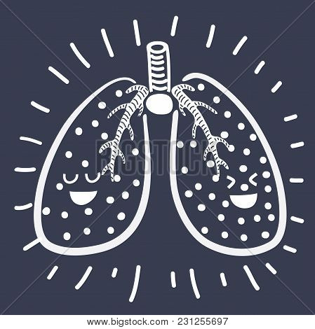 Vector Cartoon Illustration Of Pair Of Cute And Funny, Smiling Human Lung Characters Isolated On Dar