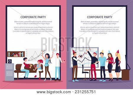 Corporate Party Set Of Two Representing People Drinking Wine And Celebrating, Workplace With Sofa, W