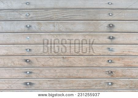 Horizontal Faded Wooden Boards With Nails. Texture