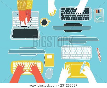 Vector Cartoon Illustration Of Human Hands Computers And Gadget, Staff Around Table Report Analytic