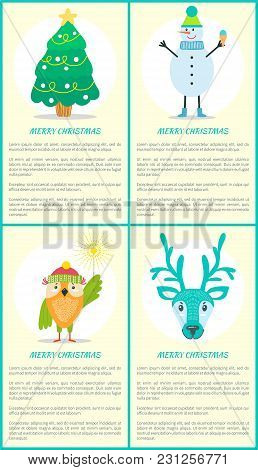 Merry Christmas Posters With Text, Decorated Fir Green Tree, Snowman Holds Cupcake, Cute Owl And Rei
