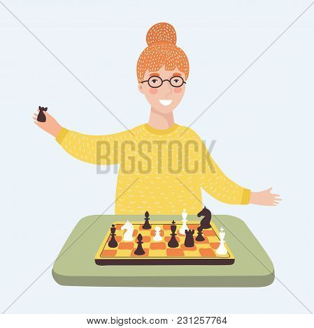 Vector Cartoon Illustration Of Funny Cartoon Smiling Young Clever Girl In Glasses Playing Chess. Cha
