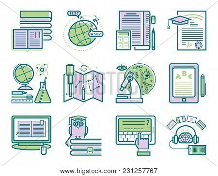 Set Of Flat Design Outline Icons Education Tutorials Staff Training Learning Research Knowledge Vect