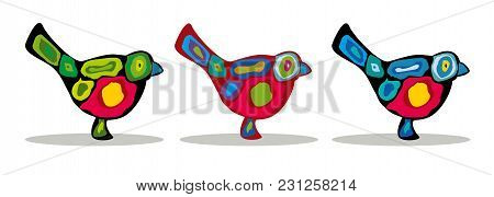 Birds, Three Colorful Bullfinches, Abstract Silhouettes Of Birds. Vector Illustration