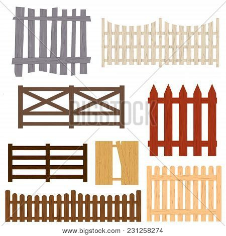 Cartoon Color Wooden Fence Set Different Types Protection Concept Flat Design Style Barrier For Gard