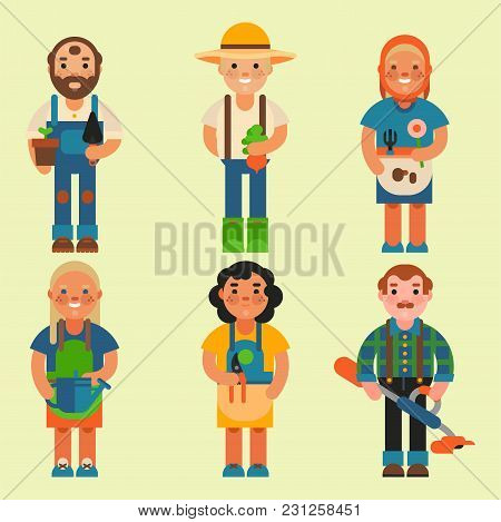 Funny Farmer Character Isolated Cartoon Man Agriculture Person And Happy Rancher Profession Rural Fa