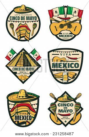 Cinco De Mayo Mexican Holiday Sketch Icons For Mexico Traditional Celebration Greeting Card. Vector