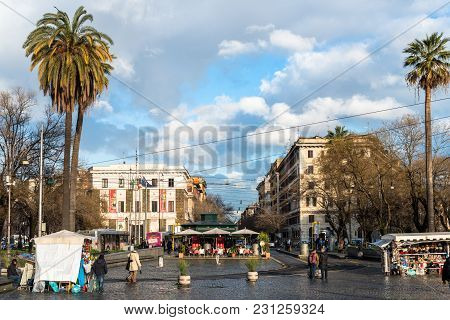 Vatican City, March 06, 2018: Horizontal Picture Of The Main Plaza In Vatican City, Italy