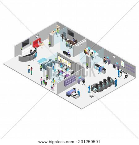 Office And Production Of The Advertising Center, People In The Working Environment, The Interior Of