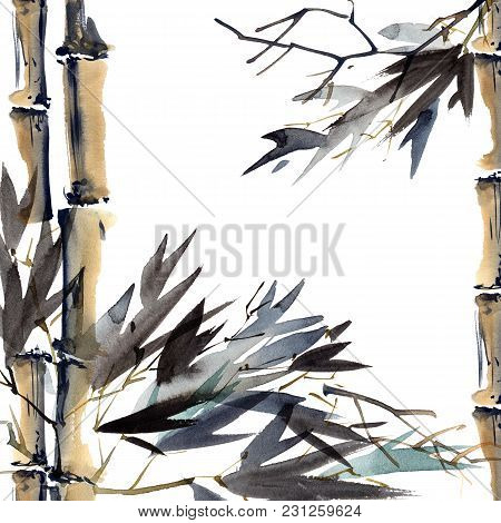 Watercolor And Ink Illustration Of Bamboo. Oriental Traditional Painting In Style Sumi-e, U-sin. Art