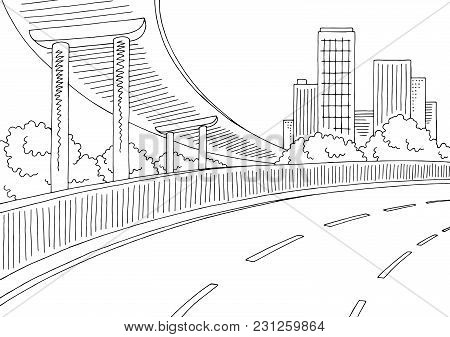 Overpass Road Graphic Black White City Landscape Sketch Illustration Vector