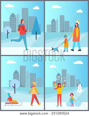 People Walks In Winter With Cityscape. Girl On Run, Mother With Son And Dog, Kid On Sledge With Fath