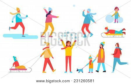 People Winter Action Collection Of Icons, Skiing Man, Male And Female Playing Snowball Fight, Kids O