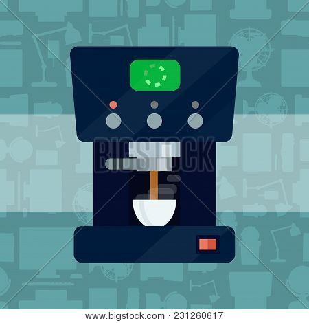 Vector Coffee Expresso Maker Machine Caffeine Modern Drink Kitchen Appliance Breakfast Drink Stainle