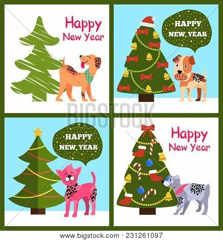 Playful Cartoon Dogs Wishes Happy New Year In Speech Bubbles, Greeting Merry Christmas Posters With