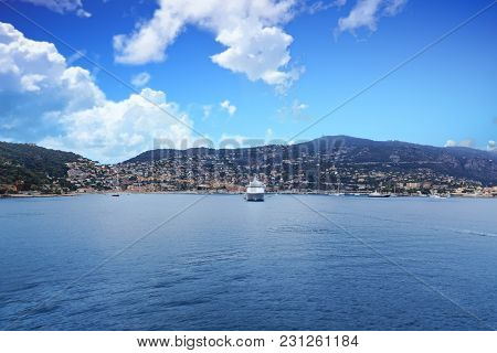 White Cruise Ship Moored In Villefranche France