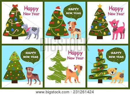 Happy New Year Greetings From Cartoon Dogs Standing Near Decorated Xmas Trees Vextor Illustration Po