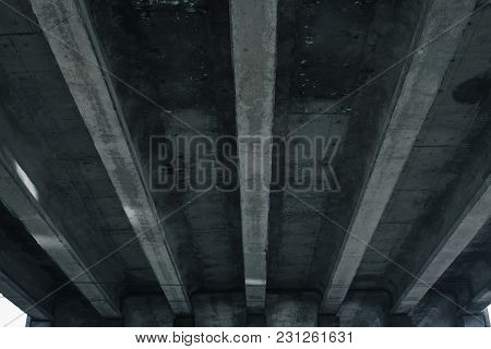 The Design Of The Automobile Bridge, Overpass, View From Below.