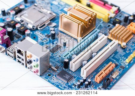 Closeup On Electronic Board In Hardware Repair Shop, Selective Focus