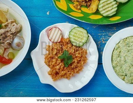 Mexican Cuisine , Authentic Mexican Rice, Traditional Assorted Dishes, Top View.