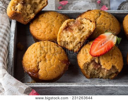 Peanut Butter Muffins With Strawberry Jam. Home Made Treat.