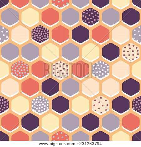 Vector Seamless Pattern With Multicolored Hexagons. Can Be Used For Textiles, Wallpaper And Wrapping