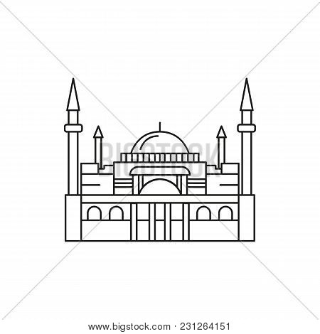 Turkish Mosque Icon. Outline Turkish Mosque Vector Icon For Web Design Isolated On White Background