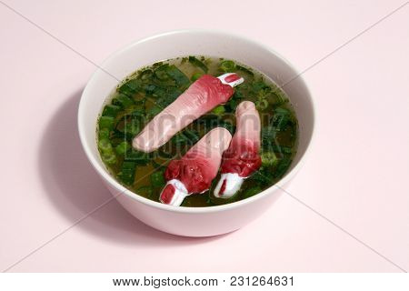Fingers Soup Pink Background