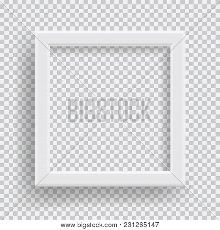 Empty Realistic Photo Frame With Transparent Shadow On Plaid Black White Background. Photo Border To