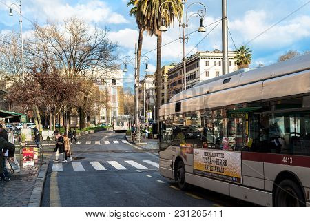 Vatican City, March 06, 2018: Horizontal Picture Of The Bus In A Blue Sky Day In Vatican City, Italy
