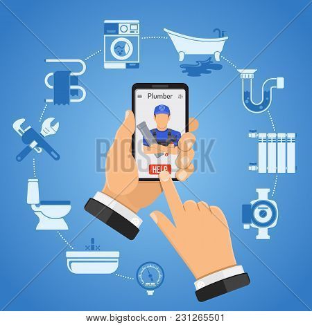 Online Plumbing Service Concept With Two Color Flat Icons Hands, Smartphone And Plumber, Tools, Devi