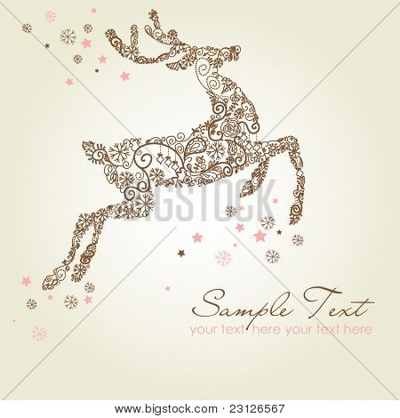 Christmas deer, Vintage vector illustration