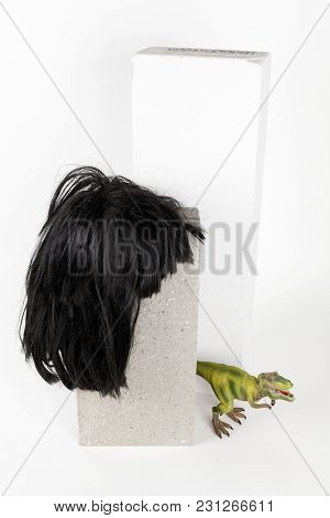 A Black Wig Put On A Gray Cinderblock With A Figurine Dinosaur Hidding Behind On A White Background.