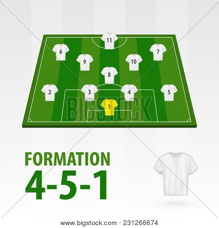 Football Players Lineups, Formation 4-5-1. Soccer Half Stadium.