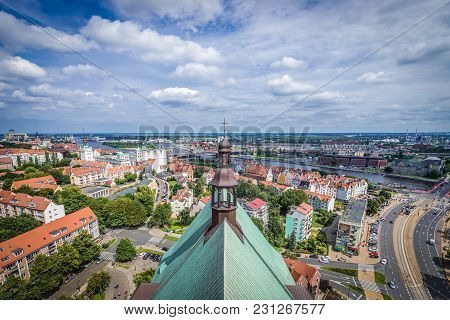 Szczecin, Poland - July 11, 2017: View From Bell Tower Of Saint James The Apostle Cathedral In Szcze