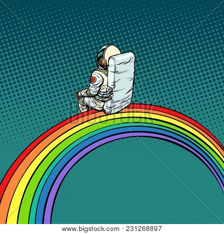 Astronaut Sits On A Rainbow. Pop Art Retro Vector Illustration Comic Cartoon Vintage Kitsch Drawing