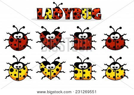 Set Artoon Red And Yellow Different Shapes Ladybug. Vector Animals And Insects